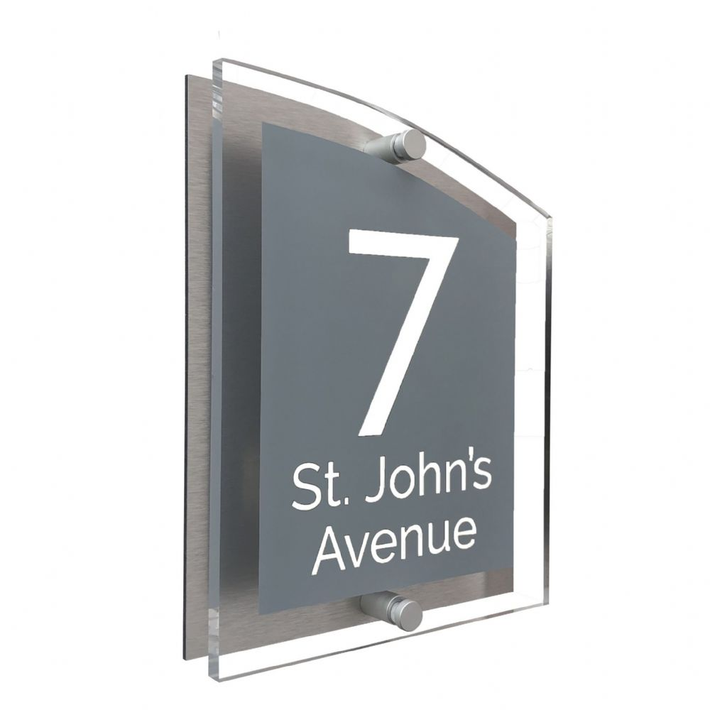 Arc Shape - Clear Acrylic House Sign - Mid Grey Colour with White text in Font  4